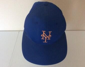 san francisco cea02 30d1d new york mets turk wendell autographed snapback hat blue script spellout  logo