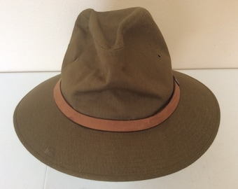 4f5dc2e82bc5a7 Dobbs Backtrails Vintage Brown Canvas Fedora Hat Size Medium 7-7 1/8