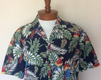 f6fb2ac4 Aloha Republic Vintage Multi Color Parrot Blue Aloha Hawaiian Shirt Mens Sz  L