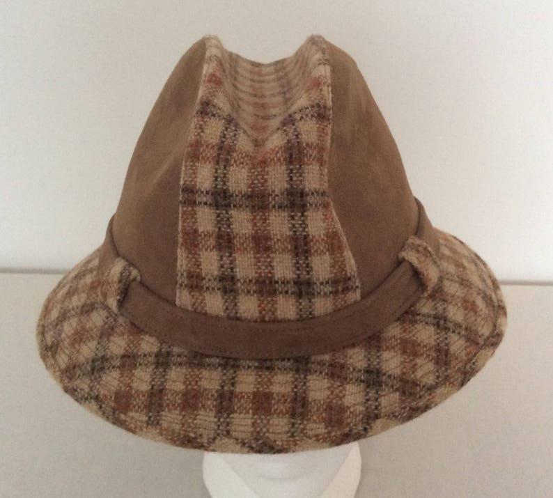 Stetson Vintage Tweed Wool   Suede Leather Brown Check Fedora  6d66477fa317
