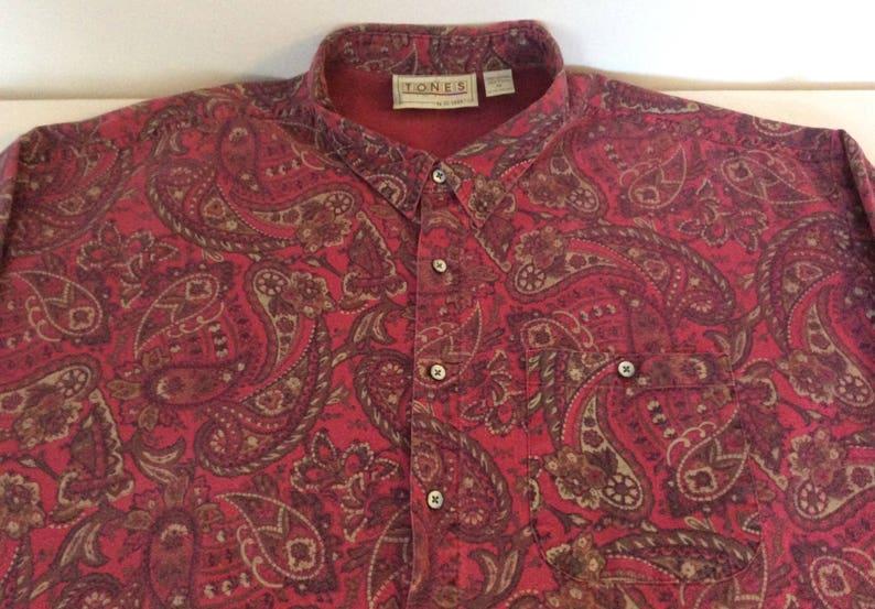 0db68737ab45d Tones CC Sport Mens 3X Vintage Red Paisley Shirt Long Sleeve