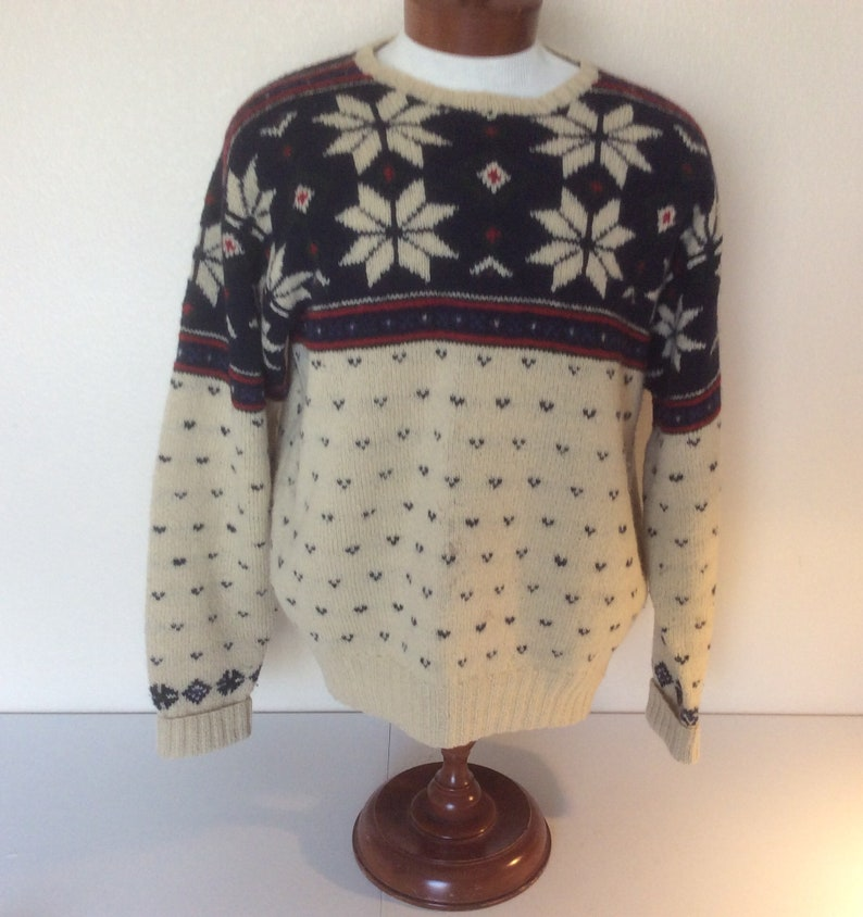 Polo Ralph Lauren Vintage Mens L Wool Hand Knit Snowflake Ski Sweater