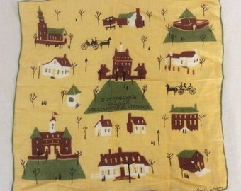 Vintage Emily Whaley Governor's Palace Williamsburg Virginia Hankerchief Hankie