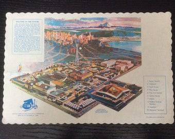 Vintage Seattle Worlds Fair Graphic Mid Century Map Souvenir Restaurant Paper Place Mat
