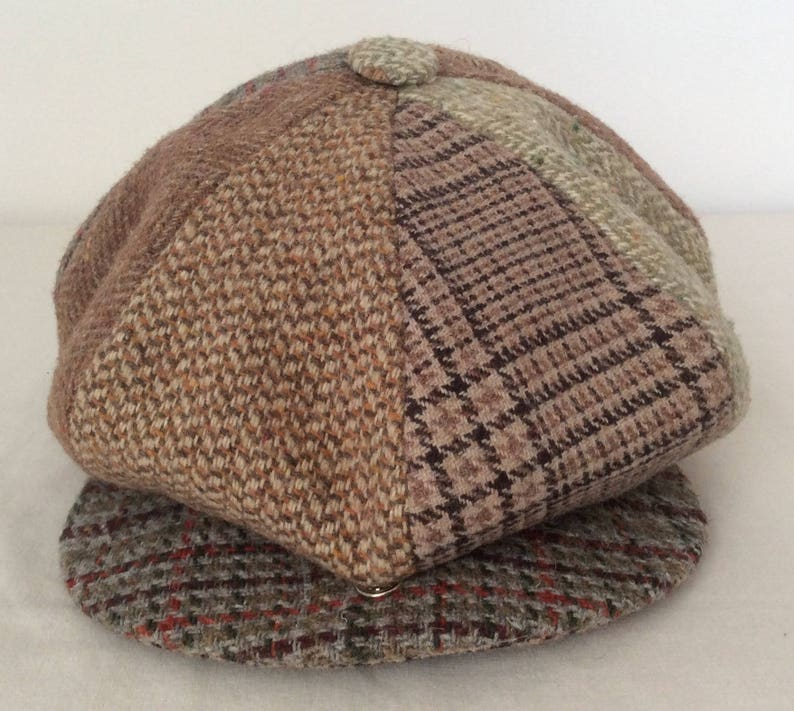 Shannon Vintage Patchwork Wool Newsboy Cabbie Hat Cap Size 7  fd32a24278ce