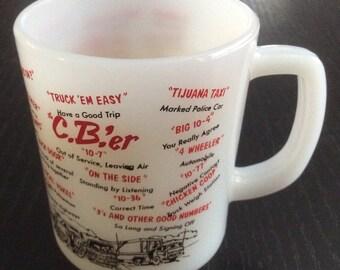 Fire King Vintage CB'ER Trucker Milk Glass Coffee Mug