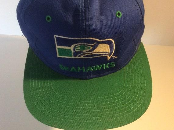 Vintage 1980s Seattle Seahawks Snapback Hat Blue … - image 5