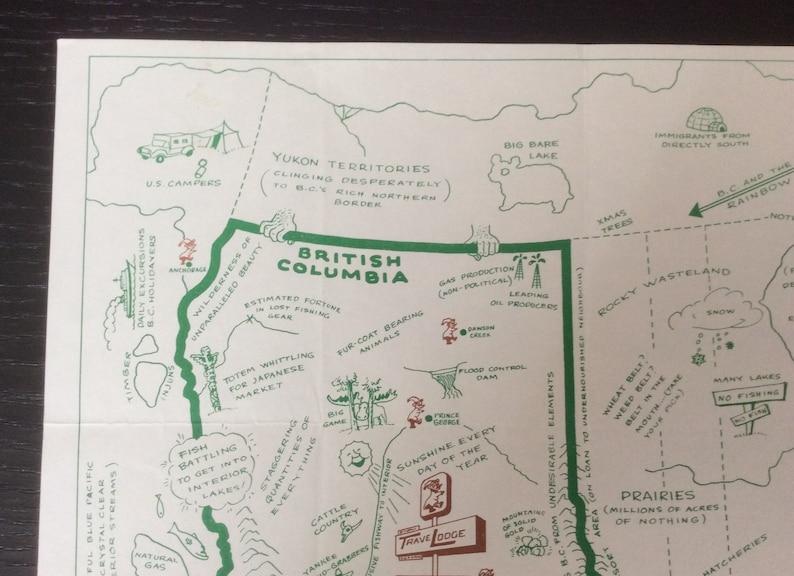 Vintage Kamloops Travel Lodge British Columbia Mid Century Map Souvenir Restaurant Paper Place Mat