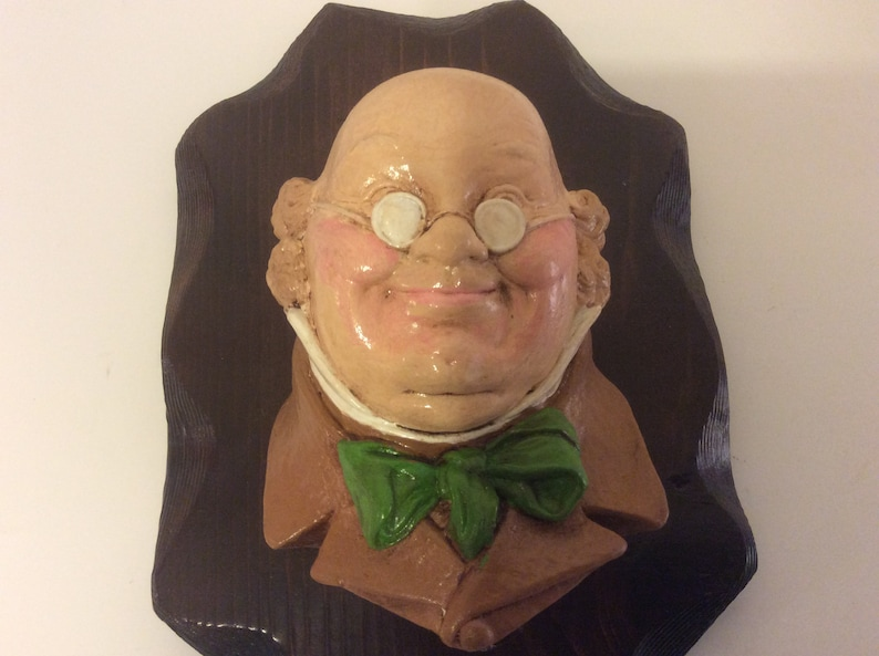 Vintage Bossons Chalkware Head With Wood Plaque Dickens Englishman Wall Hanging 8\u201d Mid Century Decor