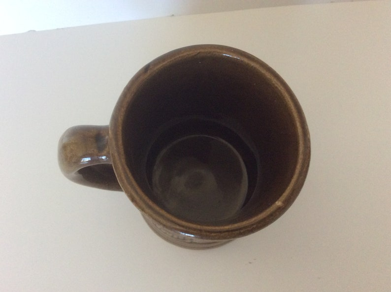 Vintage Nelson McCoy Pottery Brown Glaze Pirate Buccaneer Mug Set Of 4 Shield Mark #6