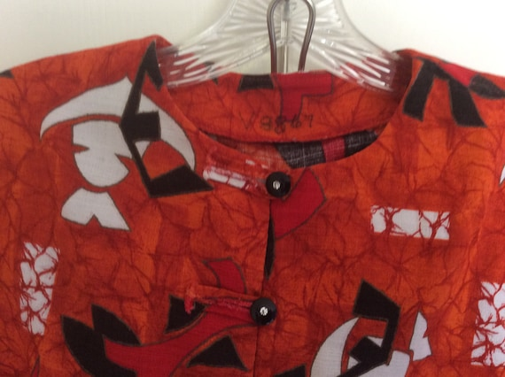 Women's Vintage 60s 70s Orange Geometric Mod Bark… - image 3