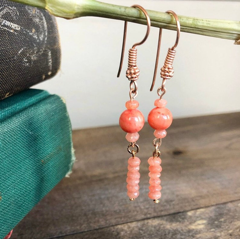 Pink Coral Drop Earrings
