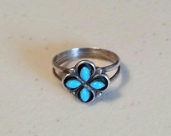 Vintage Turquoise Ring in Sterling Silver