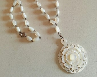Mother of Pearl Flower Pendant and Beaded Necklace