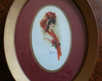 Vintage 1910 Lady Portrait Print by J. Knowles Hare in Oval Metal Frame