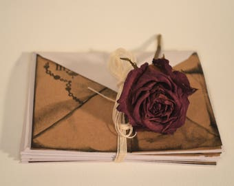 6pk INVITATION CARDS - Brown, distressed, vintage style