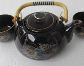 Vintage Black Color Ceramic Japanese Satsuma Tea Set for 3 Handpainted 24k Gold Finish Detailing Peacock In Garden, Japan