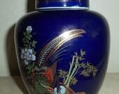 Vintage Cobalt Blue Japanese Satsuma Vase Peacock Bird In The Garden with Lid 24k Gold Finish Detailing, Japan