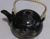 Vintage Black Color Ceramic Japanese Satsuma Teapot for 3 Handpainted 24k Gold Finish Detailing Peacock In Garden, Japan