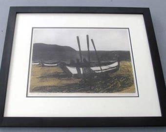 "Hand Signed Francis Kelly ""Net Bending"" H/C Framed Aquatint Etching Print Art"