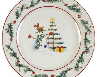 Farberware Holiday Snowman Christmas Collectible Paraglazed Salad Plate 7 1/2''