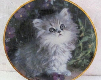 Purrfection Collectible Cat  Plate Nancy Matthews Franklin Mint Limited Edition #86390