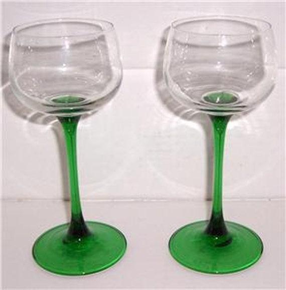 Vintage Arcoroc Luminarc, French, D'Arques, Handblown Green Stem Wine Glass  Goblets France