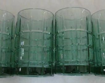 Vintage Set of (4) Anchor Hocking Tartan Manchester Green Color Flat Juice Collectible Glasses
