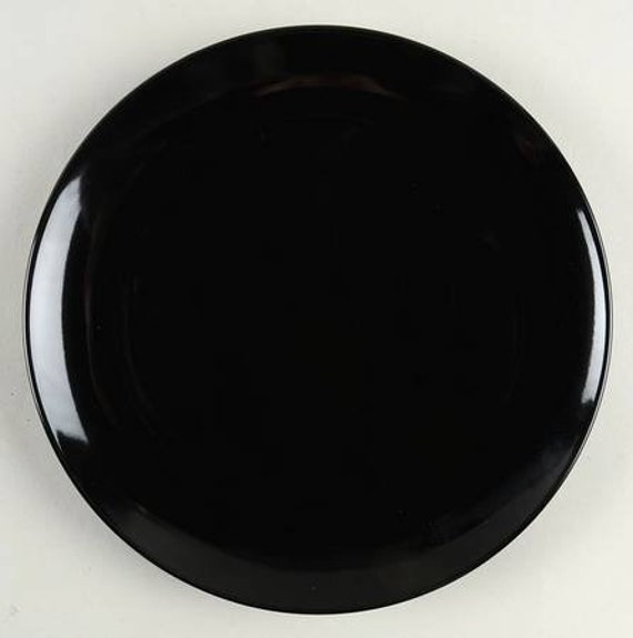 Fargrik Black by IKEA Round Salad Plate in Black Gloss Color | Etsy