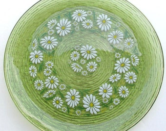 Vintage Avocado Green Anchor Hocking Torte Large Serving Glass Hand Designed & Hand Painted Daisy Flowers Display Platter