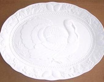 Vintage Thanksgiving Porcelain White Turkey Embossed Platter Embossed - Made In Japan