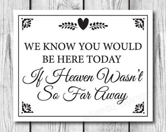 photograph relating to We Know You Would Be Here Today Free Printable titled Merchandise comparable in direction of Marriage ceremony Signal Signage Instantaneous printable / We
