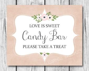 Wedding Sign, Printable Wedding Sign, Wedding Candy Bar Sign, Wedding Signage, Candy Bar Sign, Wedding Decor, Wedding Signage, Love is Sweet