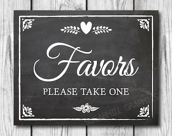 Chalkboard Wedding Sign, Printable Wedding Sign, Favors Sign, Wedding Decor, Wedding Signage, Instant Download