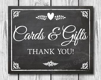 Chalkboard Wedding Sign, Printable Wedding Sign, Chalkboard Wedding Cards & Gifts Sign, Wedding Decor, Instant Download