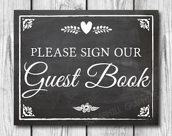 Chalkboard Wedding Sign, Printable Wedding Sign, Chalkboard Wedding Guest Book Sign, Wedding Decor, Instant Download