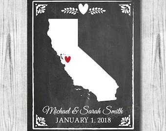 Chalkboard Wedding Sign, Printable Wedding State Sign, Custom Chalkboard Wedding State Print, Printable Wedding Sign