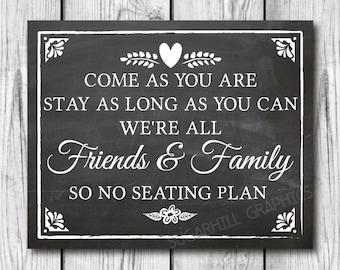 Chalkboard Wedding Sign, Printable Wedding Sign, Chalkboard Wedding No Seating Plan Sign, Wedding Decor, Wedding Signage, Instant Download