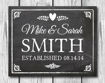 Chalkboard Wedding Sign Prinatble, Last Name Sign, Established Sign, Rustic Wedding Sign, Wedding Decor, Wedding Signage