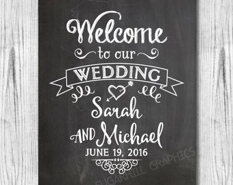Chalkboard Welcome to our Wedding Sign, Printable Chalkboard Welcome Wedding Sign, Wedding Decor, Wedding Signage