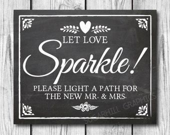 Chalkboard Wedding Sign, Printable Wedding Sign, Chalkboard Wedding Sparkle Sign, Wedding Decor, Wedding Signage,  Let Love Sparkle Sign