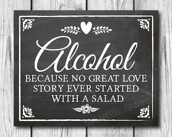 Chalkboard Wedding Sign, Printable Wedding Sign, Chalkboard Wedding Alcohol Sign, Wedding Love Story, Wedding Decor, Instant Download