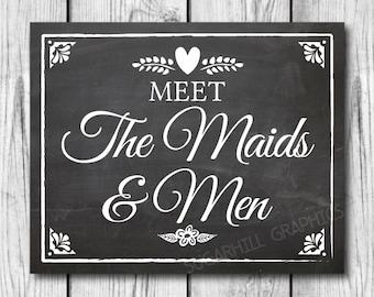 Chalkboard Wedding Sign, Printable Wedding Sign, Wedding Meet the Maids & Men Sign, Wedding Decor, Instant Download, Wedding Signage