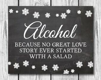 Chalkboard Wedding Sign, Printable Winter Wedding Sign, Alcohol Love Story Sign, Instant Download, Printable Wedding Signage