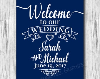 Welcome to our Wedding Sign, Printable Navy Blue Welcome Wedding Sign, Wedding Decor, Wedding Signage