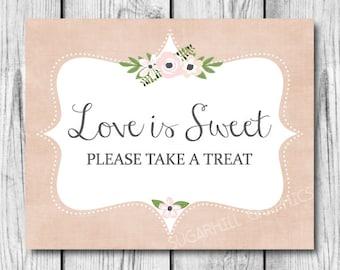 Wedding Sign, Printable Wedding Sign, Wedding Love is Sweet Sign, Wedding Signage, Love is Sweet Sign, Wedding Decor, Instant Download