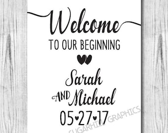 Welcome Wedding Sign, Printable Welcome to our Beginning Sign, Wedding Decor, Wedding Signage