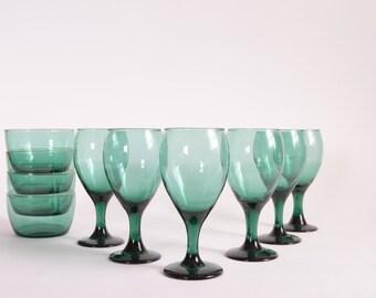 Vintage 90s Teal Wine Glasses Desert Bowls Libbey Water Glasses Libbey Teal Cereal Bowls