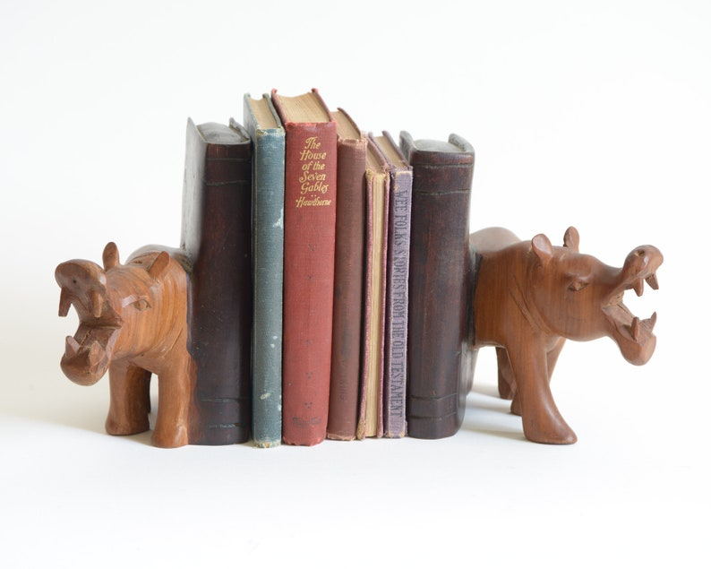 Vintage Carved Wood Hippopotamus Bookends Animal Bookends Carved Wood  Library Shelf Decor Africa Decor