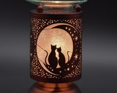 Any 2 Home Fragrance Oils with Hand Crafted Sweetheart Cats Cut-Tin Touch Base Electric Oil Warmer